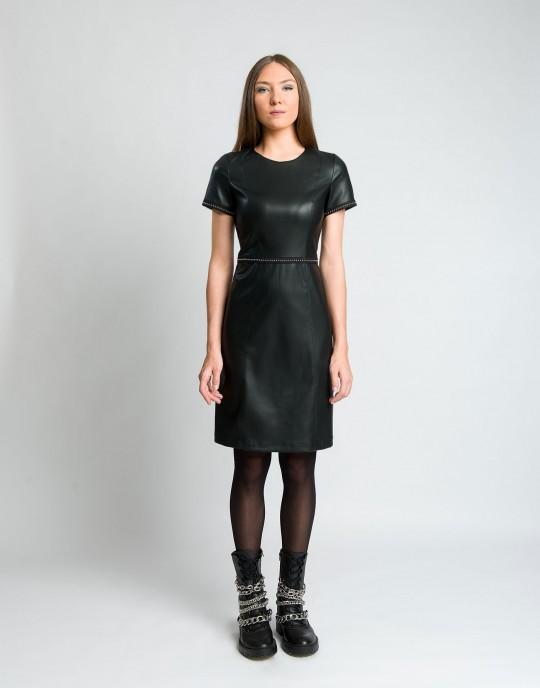Φόρεμα δερματίνη με φυτίλι