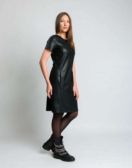 Φόρεμα δερματίνη με τσέπες